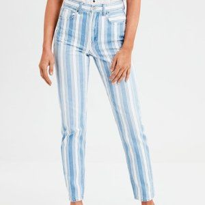 American Eagle Striped Mom Jean Extra long blue